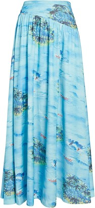 STAUD Kona Printed Maxi Skirt