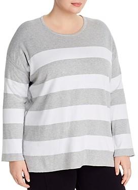 Eileen Fisher Plus Striped Organic Cotton Sweater