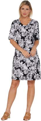 Isaac Mizrahi Live! SOHO Elbow Sleeve Floral Printed T-Shirt Dress