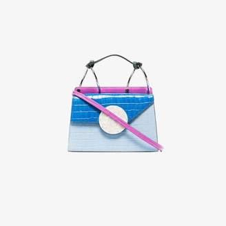 Danse Lente Pink, Blue and White Mini Phoebe Mock Croc Leather Cross Body Bag