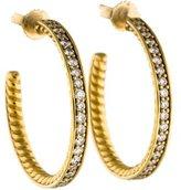 David Yurman Diamond Sculpted Cable Large Hoop Earrings