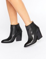 Selected Tania Black Leather Heeled Ankle Boots