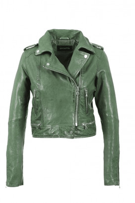 Oakwood Green Kyoto Washed Look Leather Jacket - 16