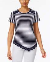 Alfred Dunner Petite Indigo Girls Lace-Trim Striped Top