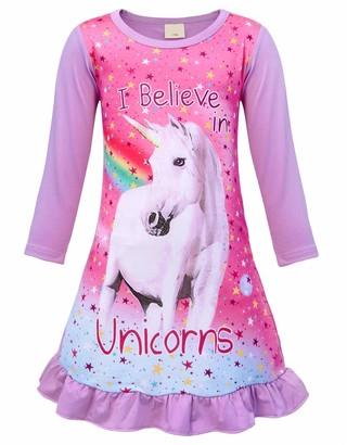 Jurebecia Girls Unicorn Nighties Long Sleeve Pajama Nightgown Dress for Kids Purple 5-6 Years