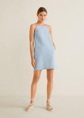 MANGO Halter neck denim dress light blue - 4 - Women