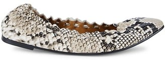 See by Chloe Jane Python-Embossed Ballet Flats