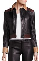 Helmut Lang Colorblock Cropped Leather Jacket
