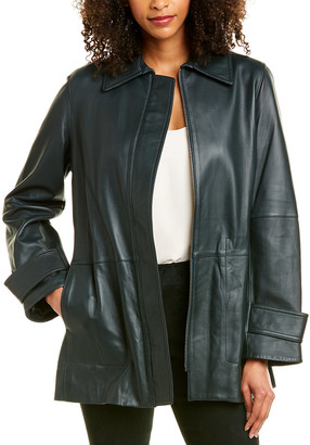 Vince Belted Leather Trench Coat