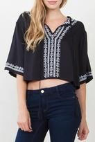 Sugar Lips Black Embroidered Top
