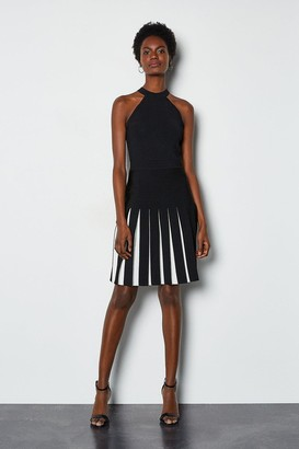 Karen Millen Halterneck Fluted Skirt Bandage Knit Dress
