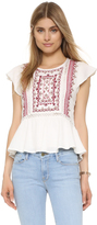 Twelfth St. By Cynthia Vincent Embroidered Flutter Top