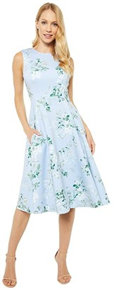 Calvin Klein Floral Print A-Line Dress (Serene Multi) Women's Dress