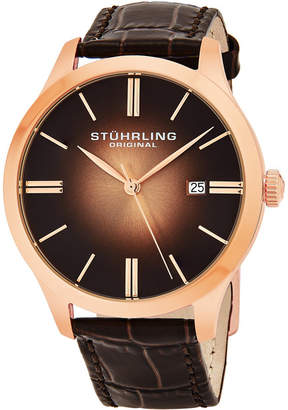 "Stuhrling Original Stainless Steel Rose Tone Case on Brown Alligator Embossed Genuine Leather Strap, Rose Tone ""Burnt"" Center Dial, with Rose Tone Accents"