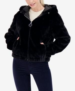 Sebby Junior's Reversible Faux Fur Hooded Bomber