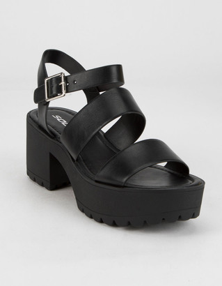 Soda Sunglasses Lug Sole Ankle Strap Womens Platform Sandals