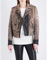 Belstaff Ladies Brown Buttoned Classic Elmley Vintage Leather Biker Jacket