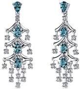 Peora 4.00 Carats London Topaz Dangle Earrings Sterling Silver Rhodium Nickel Finish