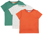 John Lewis GOTS Cotton Cuba T-Shirt, Pack of 3, Green/Orange