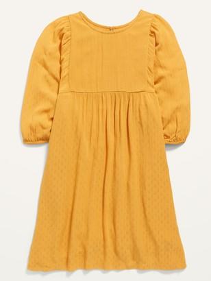 Old Navy Long-Sleeve Dobby-Print Babydoll Dress for Girls