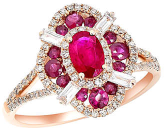 Diana M Fine Jewelry 14K Rose Gold 1.23 Ct. Tw. Diamond & Ruby Ring