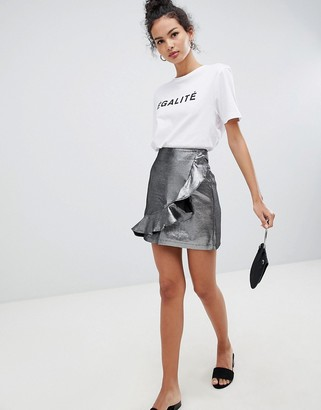 Glamorous metalic asymmetric frill skirt