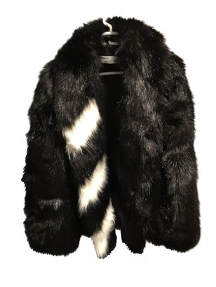 Off-White Black Faux fur Coat for Women