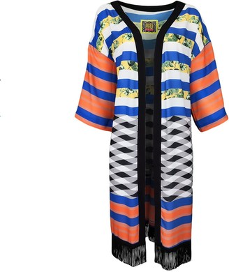 Lalipop Design Digital Print Kimono With Fringes