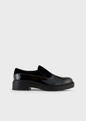 Giorgio Armani Leather And Velvet Slip-Ons