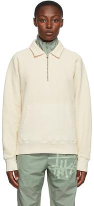 Stussy Beige Polo Half-Zip Sweatshirt