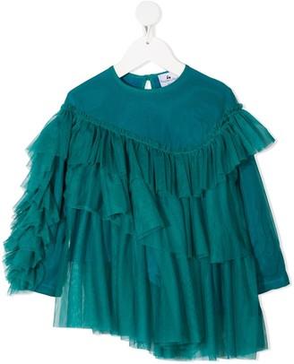 Raspberry Plum Nira tiered tulle blouse