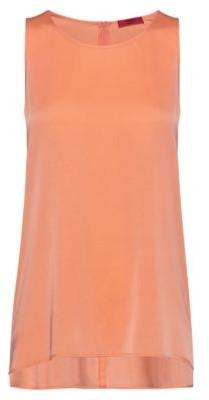 HUGO BOSS Regular Fit Sleeveless Top In Stretch Silk - Light Orange
