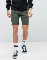 Asos Denim Shorts In Skinny Green With Thigh Rip