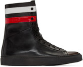 Raf Simons Black Leather Stripes High-Top Sneakers