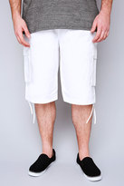 Yours Clothing NOIZ White Cotton Cargo Shorts With Pockets