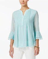 Charter Club Petite Pintucked Bell-Sleeve Top, Only at Macy's