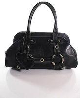Luella Black Leather Silver Accent Medium Giselle Satchel Handbag