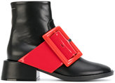 MM6 MAISON MARGIELA contrast buckle ankle boots - women - Leather/rubber - 37