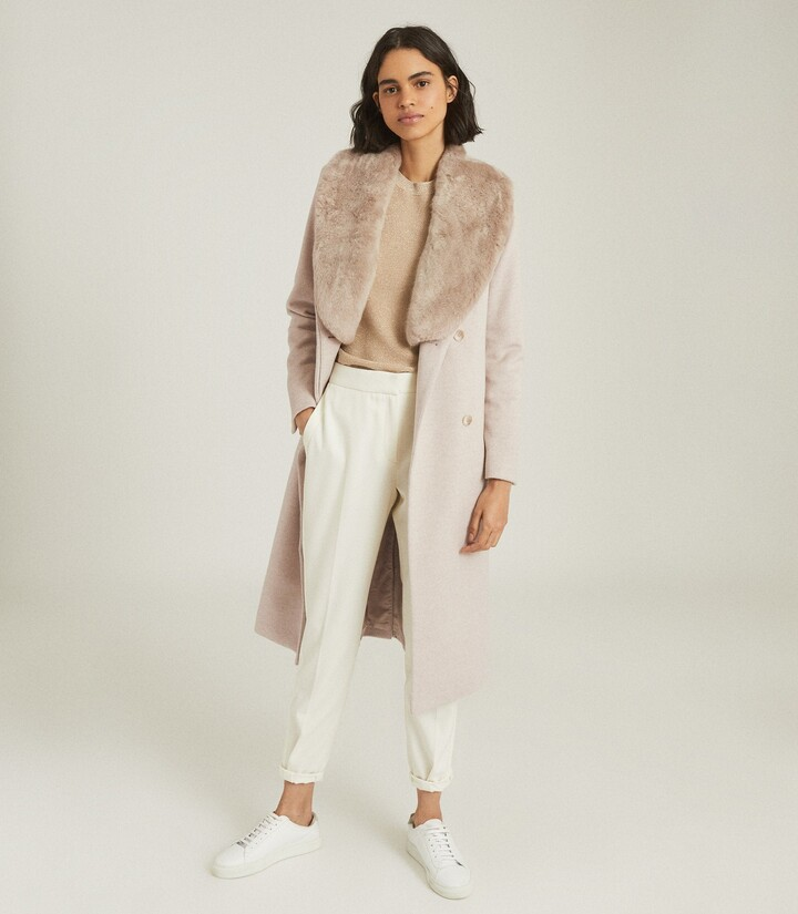 Thumbnail for your product : Reiss Pacey - Faux Fur Shawl Collar Overcoat in Grey