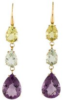Roberto Coin 18K Ipanema Amethyst, Green Quartz, & Lemon Quartz Drop Earrings