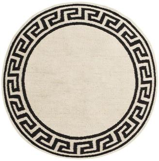 Jonathan Adler Round Greek Key Border Reversible Peruvian Flat Weave Rug