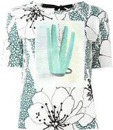 Marni tie-back printed T-shirt - women - Cotton - 38