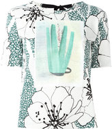Marni tie-back printed T-shirt - women - Cotton - 40