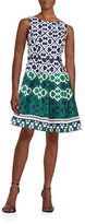 Taylor Patterned Cotton Fit-and-Flare Dress