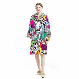 Bennigiry Hoodie Blanket Home Wear Cosy Wearable Hooded Sweatshirt for Women One Size Fits Zebras Tropical