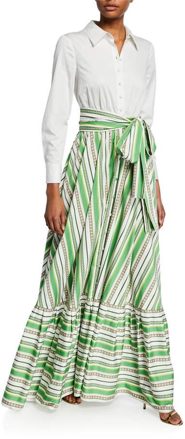 Badgley Mischka Long-Sleeve Shirt Top & Striped Skirt Gown
