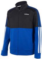 adidas Boys' Non-Denim Casual Jackets BLK/BLUE - Black & Blue Color Block Tricot Full-Zip Jacket - Toddler & Boys