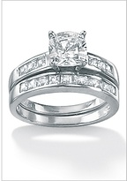 2-Piece CZ Platinum/SS Set