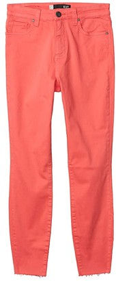 KUT from the Kloth Connie High-Rise Ankle Skinny with Raw Hem in Coral (Coral) Women's Jeans