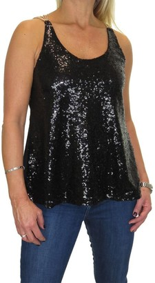 icecoolfashion Women's Party Sparkly Sequin Cami Top Ladies Sleeveless Chain Muscle Back Evening Cocktail Tank Top Black 6-14
